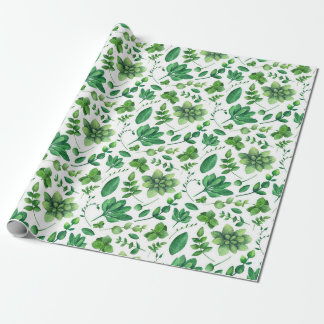 Green botanical pattern Watercolor summer greenery Wrapping Paper