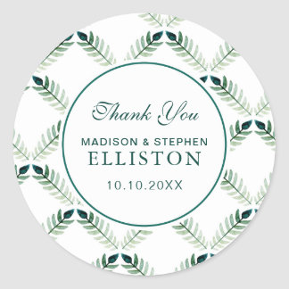 Green Botanical Watercolor Pattern | Thank You Round Sticker