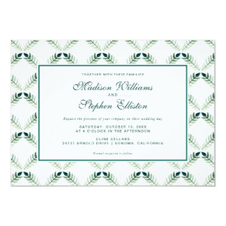 Green Botanical Watercolor Pattern - Wedding Card