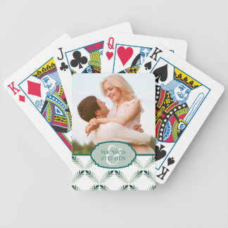 Green Botanical Watercolor Pattern - Wedding Photo Bicycle Playing Cards