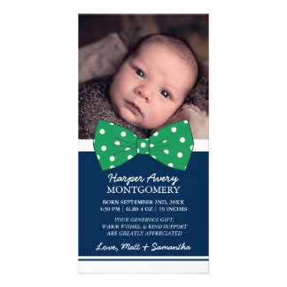 Green Bow Custom Photo Baby Shower Thank You Picture Card