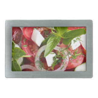 Green bowl of tasty and useful food for raw foodis rectangular belt buckle