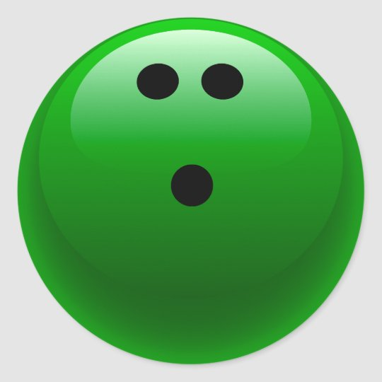 Green Bowling Ball Classic Round Sticker