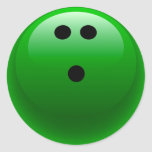 Green Bowling Ball Round Stickers