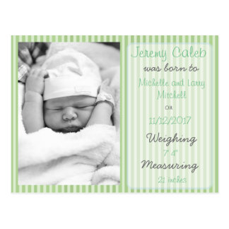 Green Boy Birth Announcement Postcard