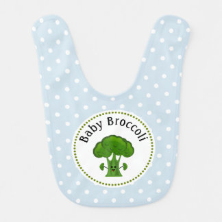 Green Broccoli Blue and White Polka Dots. Baby Bibs