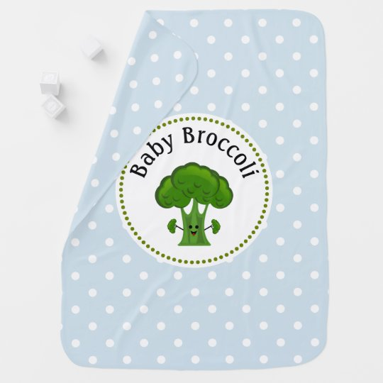 Green Broccoli Blue and White Polka Dots. Receiving Blanket