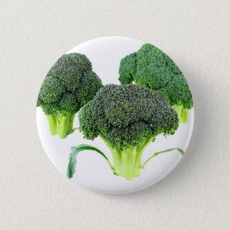 Green Broccoli Crowns on White 2 Inch Round Button