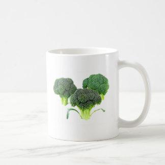 Green Broccoli Crowns on White Coffee Mug