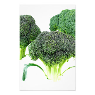 Green Broccoli Crowns on White Custom Stationery