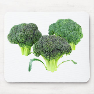 Green Broccoli Crowns on White Mouse Pad