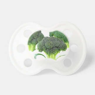 Green Broccoli Crowns on White Pacifier