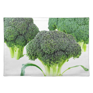 Green Broccoli Crowns on White Placemat