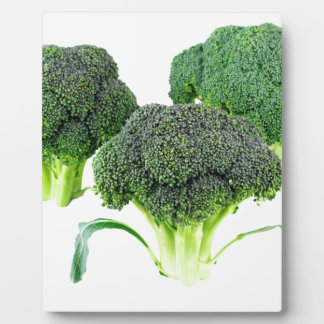 Green Broccoli Crowns on White Plaque