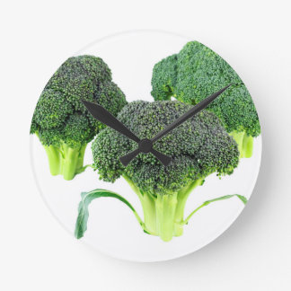 Green Broccoli Crowns on White Round Clock