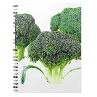 Green Broccoli Crowns on White Spiral Notebook