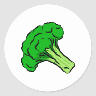 Green Broccoli Floret Drawing Art Vegetables Love Round Sticker