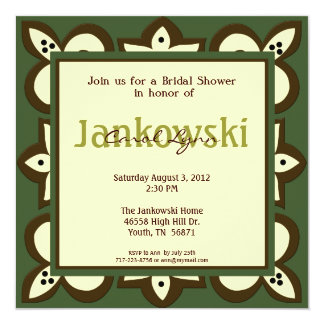 "Green, Brown, and Beige Invitation 5.25"" Square Invitation Card"