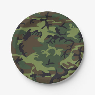 Green Brown Camouflage. Camo your 7 Inch Paper Plate