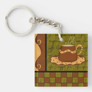 Green Brown Coffee Cup Checkerboard Art Double-Sided Square Acrylic Keychain