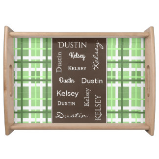 Green & Brown Contemporary w/Names Serving Tray