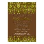 Green & Brown Damask Bridal Shower Invitation