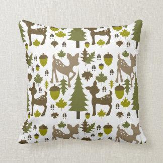 Green + Brown Deer Pillow