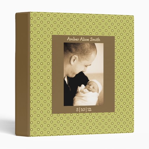Green & Brown Floral Baby Book 3 Ring Binder