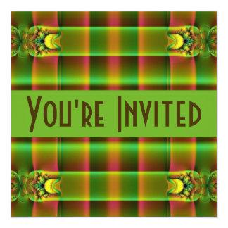 "green brown fractal 5.25"" square invitation card"