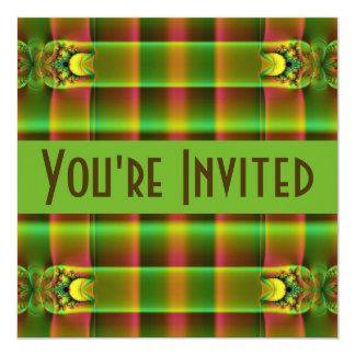green brown fractal 5.25x5.25 square paper invitation card