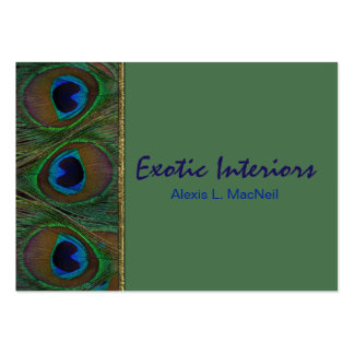Green, Brown, Gold Peacock Feathers Business Card