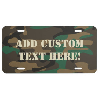 Green Brown Military Camo Camouflage License Plate