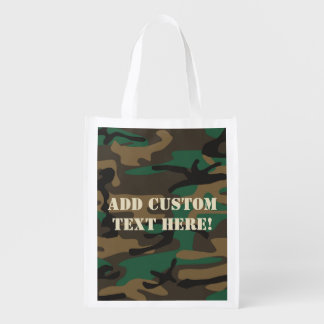 Green Brown Military Camo Camouflage Reusable Grocery Bag