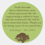 Green brown oak tree wedding quote favor label round sticker