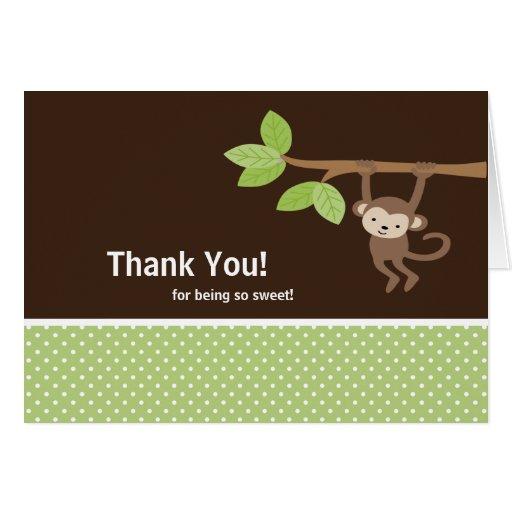 Green & Brown Safari Monkey Thank You Note Card