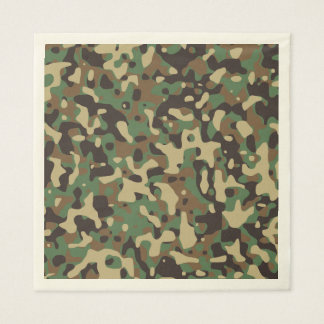 Green Brown Woodland Camouflage. Camo your Disposable Napkin