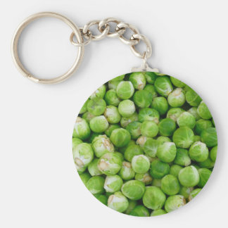 Green brussels sprouts basic round button keychain