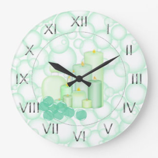Green Bubble Candle Bathroom Wallclocks