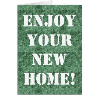 Green bubble wrap housewarming card