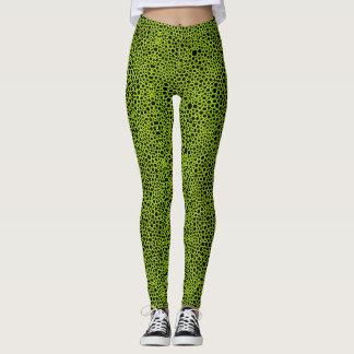 Green Bubbles on Black - Faux Snake Skin look Leggings