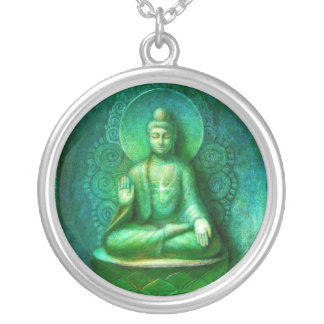 Green Buddha Meditation Art round pendant necklace