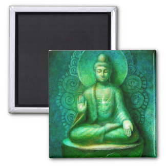Green Buddha Square Magnet