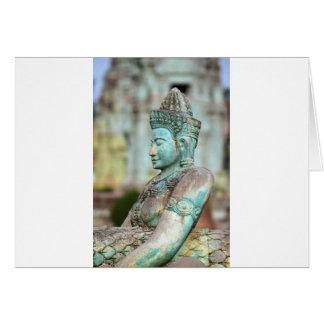 Green Buddha statue Cambodia Cards