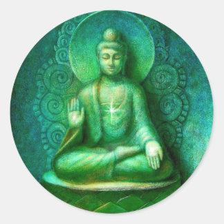 Green Buddha Zen Meditation Round Sticker