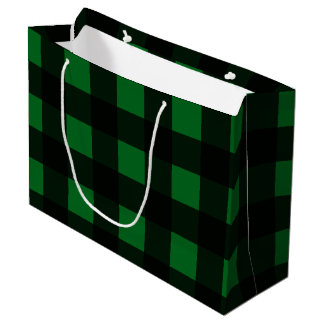 Green Buffalo Plaid Large Gift Bag