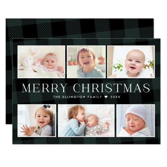 Green Buffalo Plaid Photo Gallery Christmas Card