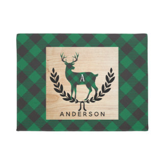 Green Buffalo Plaid Stag Monogram Doormat
