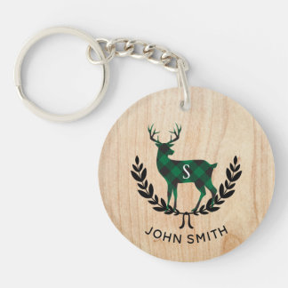 Green Buffalo Plaid Stag Monogram Keychain