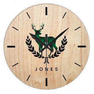 Green Buffalo Plaid Stag Monogram Large Clock