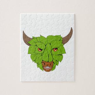 Green Bull Head Drawing Jigsaw Puzzle